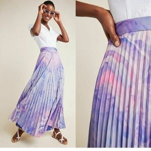 Anthropologie Marble-Dyed Pleated Maxi Skirt